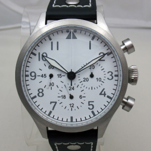 TICINO 44mm Vintage Hand Wind Pilot Chronograph Watch w/ White Dial